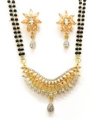 coloured stone necklace images American diamond with coloured stone mangalsutra pendant set in JPG