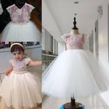 lovely pearls beaded ball gown baby party dresses 2017 kids
