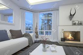 Cozy Livingroom Cozy Living Room Interior With An Upholstered White Couch And