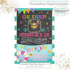 sunshine invitation emoji pool party birthday invitation instagram pool party
