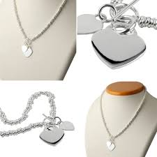Necklace Engraving Double Heart Sterling Silver Sweetie Necklace Engravable Hearts