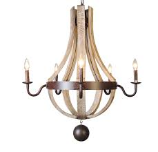 Large Outdoor Chandelier Country Wood Metal Wine Barrel Chandelier Pendant 5 Lights