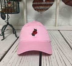 light pink polo baseball cap red rose flower embroidery light pink baseball cap low profile