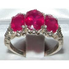 natural ruby rings images 925 sterling silver natural ruby womens trilogy ring sizes 4 to jpg