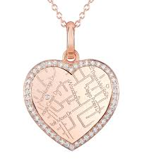 Map Rose Rose Gold Heart Map Pendant With Diamond Border Maps By A Jaffe
