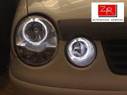 volkswagen polo headlights modified zr automotive lighting custom made angel eye rings