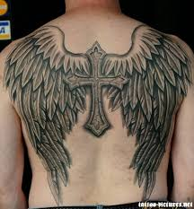 black and grey wings with cross on back by juliamarshall369