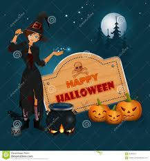 happy halloween graphic background with cartoon witch casts