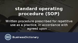 what is standard operating procedure sop definition and meaning