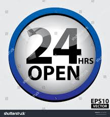 24 hours open glass sign blue stock vector 112122749 shutterstock