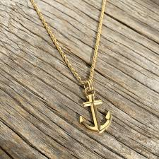 Items Similar To Nautical Anchor - nautical anchor 18k gold plated necklace waterproof maris sal