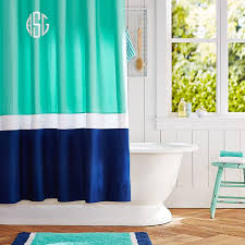 Blue And Green Shower Curtains Color Block Shower Curtain Pool Royal Navy Pbteen