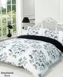 Duvet Quilt Cover Bedding Set Black White Single Double King