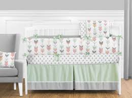 grey coral and mint woodland arrow baby bedding 9pc crib set by
