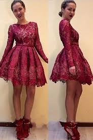 modest scoop short maroon lace homecoming dress with long sleeves