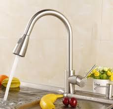 Kitchen Faucet Brushed Nickel Luxice Modern Stainless Steel Single Handle Pull Down Spray