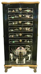Black Armoire Oriental Jewelry Armoire Black Lacquer And Inlaid Asian