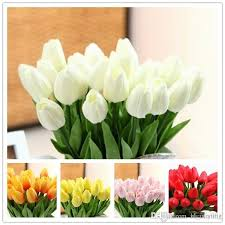 Home Interior Party by Elegant White Pu Tulip Artificial Flowers Simulation Tulip Wedding
