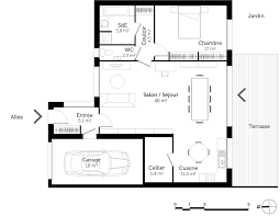 plan de maison avec cuisine ouverte plan cuisine ouverte nouveau plan maison de plain pied avec 1