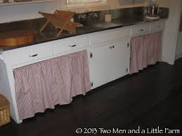 two men and a little farm covering the open kitchen cabinets with