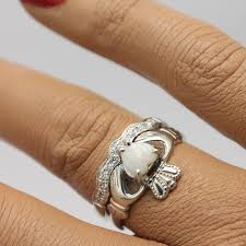 opal wedding ring real opal claddagh ring set with matching band opal ring