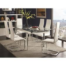 High Quality Dining Room Furniture by Modern Glass Dining Room Table With Leaves Strong Tempered Glass