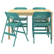 frode ingo table and 4 chairs pine turquoise 120 cm ikea