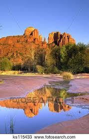 Cathedral Rock Reflections At Sunset Red Rock Crossing Stock Photo Of Cathedral Rock At Red Rock Crossing Oak Creek