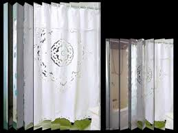 Oversized Curtain Rod Cologne Fabric Shower Curtain With Poly Taffeta Flocking White