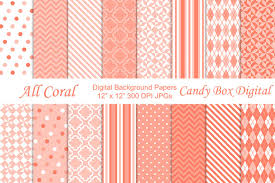 all coral digital background papers patterns creative market