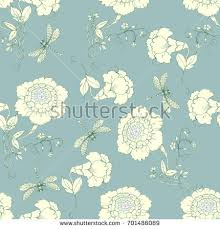 chinoiserie wrapping paper seamless pattern chinoiserie style peonies dragonfly stock vector