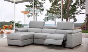 Left Sectional Sofa Alba Premium Leather Sectional Sofa In Light Grey Free Shipping