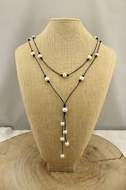 long leather necklace jewelry images 56 leather necklace with pearl leather pearl necklace jpg