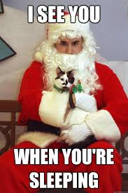 Santa Meme - i see you when you re sleeping angry cat holding santa quickmeme