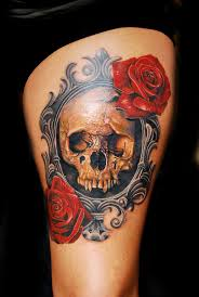 collection of 25 sugar skull and roses tattoos on thigh