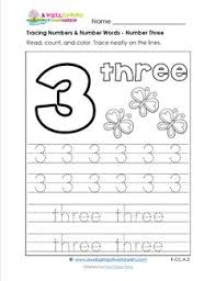 tracing numbers and number words number 3