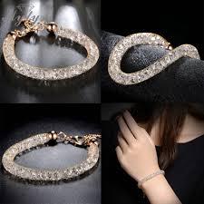 rose gold crystal bracelet images Mytys rose gold wire mesh chain sparkling bracelet stainless steel jpg