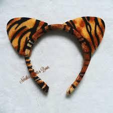 tiger headband tiger print plush cat ears cat ears headband