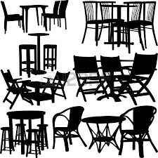 Dining Room Table Clipart Black And White Collection Of Tables Silhouettes Royalty Free Cliparts Vectors