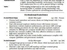 sample resume for hospitality sample resume for hospitalityideas
