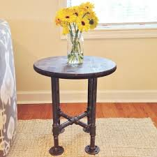 round industrial side table small table round table side table night stand bedside table