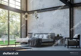 loft style bedroom 3d rendering imagethere stock illustration