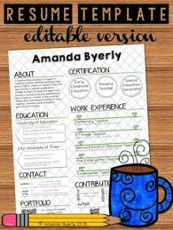 Free Teaching Resume Templates Free Editable Resume Template By Take Home Tpt
