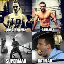 Ben Affleck Meme - wonderwoman aquaman superman training hard while batman is eating