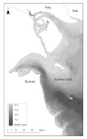kuwait on a map illustrates the bathymetry map of kuwait seawaters the area