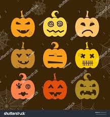 set halloween pumpkin different expressions halloween stock vector