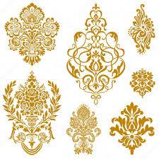 vector gold damask ornament set stock vector createfirst 4748232