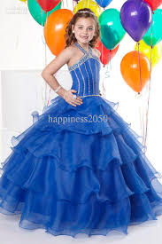christmas royal blue organza halter beads wedding flower