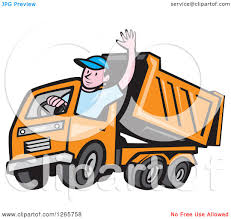 clipart of a cartoon white male dump truck driver waving royalty