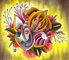 figurehead tattoo original art illustrations color armadillo